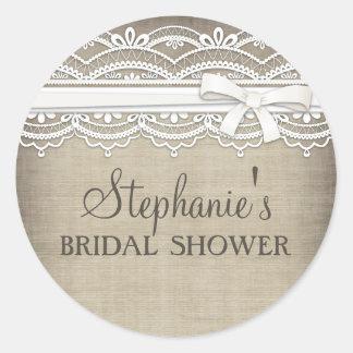 Vintage Lace Linen Rustic Elegance Bridal Shower Sticker