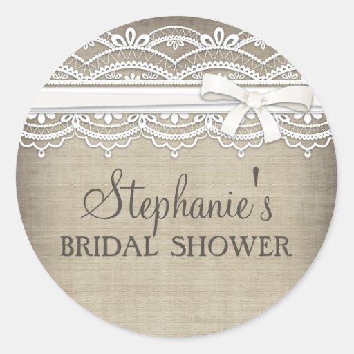 Vintage Lace & Linen Rustic Elegance Bridal Shower Sticker