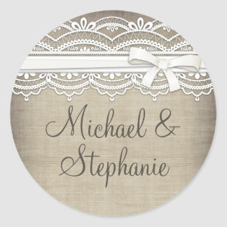 Vintage Lace & Linen Rustic Elegance Wedding Round Sticker