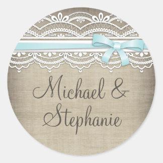Vintage Lace & Linen Rustic Elegance Wedding Classic Round Sticker