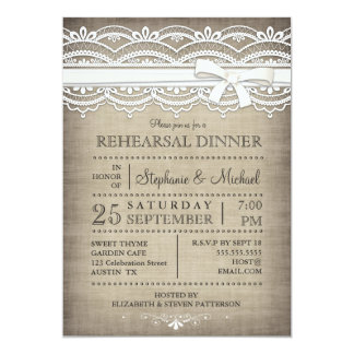 Vintage Lace & Linen Rustic Rehearsal Dinner 13 Cm X 18 Cm Invitation Card