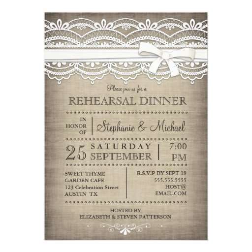 Vintage Lace & Linen Rustic Rehearsal Dinner Announcement
