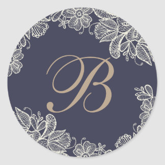 Vintage Lace Monogram Round Sticker