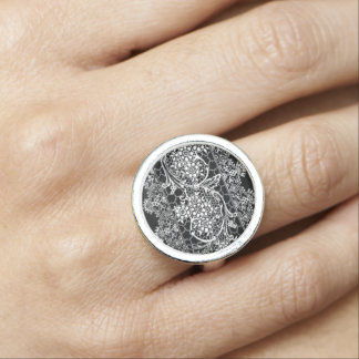 Vintage Lace on Black Retro Jewelry Ring