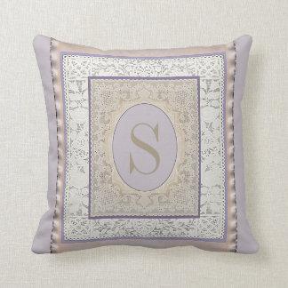 Vintage Lace On Silk Monogram Cushions