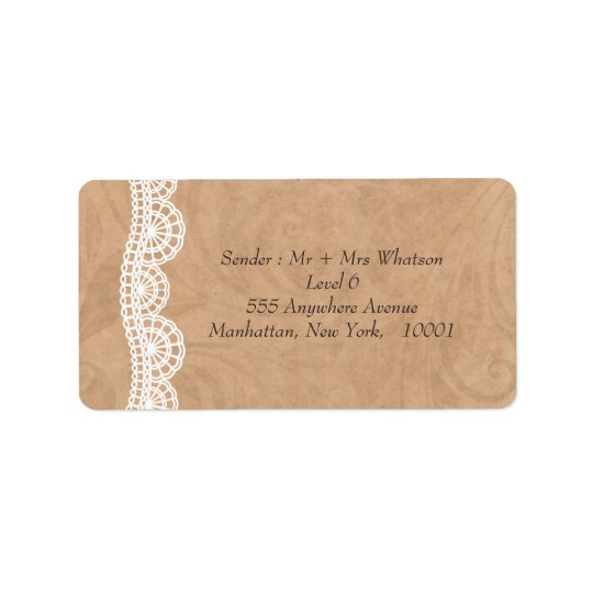 Vintage Lace Personalised Wedding Address Labels