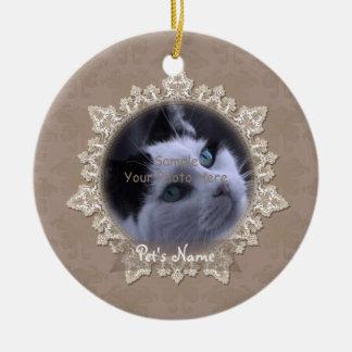 Vintage Lace Pet Cat Memorial Ornament