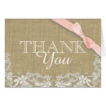 Vintage Lace Pink Baby Shower Thank you Greeting Card