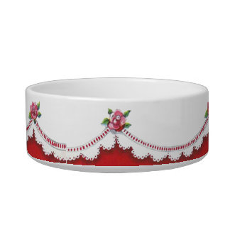 Vintage Lace Red Roses Pet Food Bowl