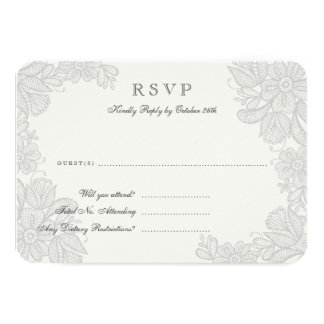Vintage Lace Response Card 9 Cm X 13 Cm Invitation Card
