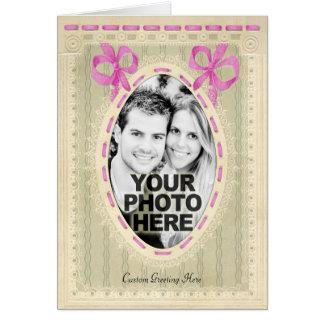 Vintage Lace & Ribbons Custom Photo Frame Greeting Card