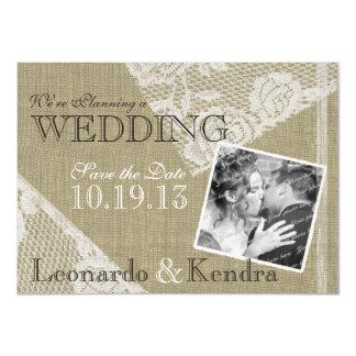 Vintage Lace Romantic Save the Date 11 Cm X 16 Cm Invitation Card
