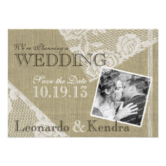 Vintage Lace Romantic Save the Date Personalized Invite