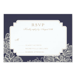 Vintage Lace RSVP Card (Navy & White) 9 Cm X 13 Cm Invitation Card