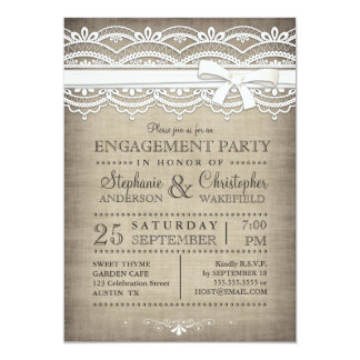 Vintage Lace Rustic Country Engagement Party 13 Cm X 18 Cm Invitation Card