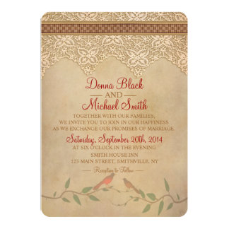 Vintage Lace Rustic Wedding Invitation