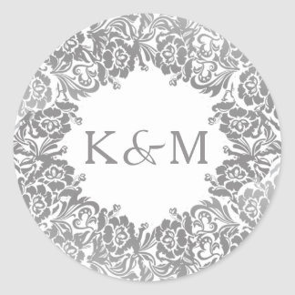 Vintage Lace Sticker with Initials in Silver