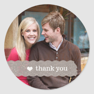 Vintage Lace Thank You Wedding Photo Sticker