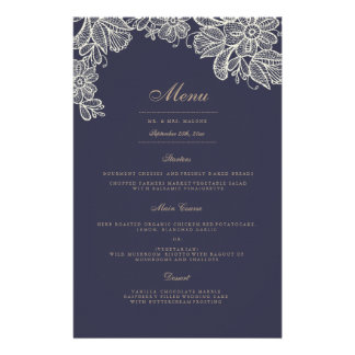 Vintage Lace Wedding Dinner Menu 14 Cm X 21.5 Cm Flyer