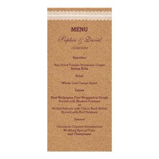 Vintage Lace Wine Cork Wedding Menu