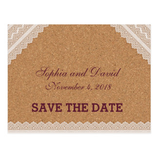 Vintage Lace Wine Cork Wedding SAVE THE DATE Postcard