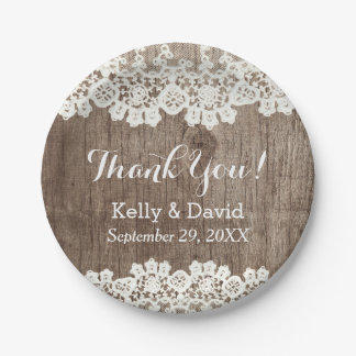 Vintage Laced Barn Wood Rustic Wedding Thank You 7 Inch Paper Plate