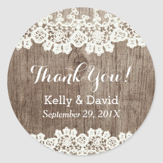 Vintage Laced Barn Wood Rustic Wedding Thank You Round Sticker