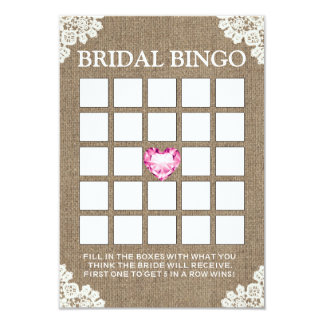 Vintage Laced Bridal Shower Burlap Bingo Cards