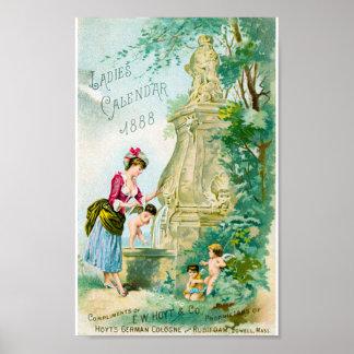Vintage Ladies Calendar 1888 Cover Poster
