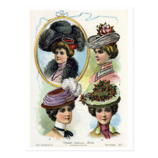 Vintage Ladies in Hats II Postcard