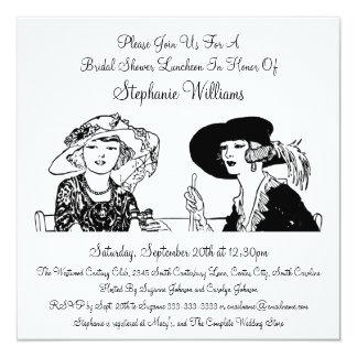 Vintage Ladies with Hats Elegant Bridal Shower 13 Cm X 13 Cm Square Invitation Card