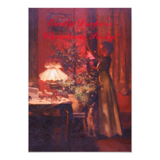 Vintage Lady and Christmas Tree Invitation