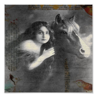 Vintage Lady and Horse Digital Collage Poster