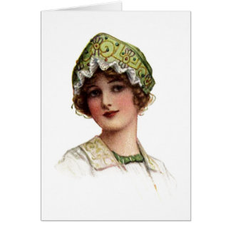 Vintage Lady Bead and Lace Bonnet Card Greeting Card
