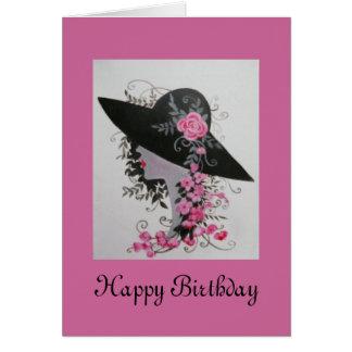 VINTAGE LADY BIRTHDAY CARD