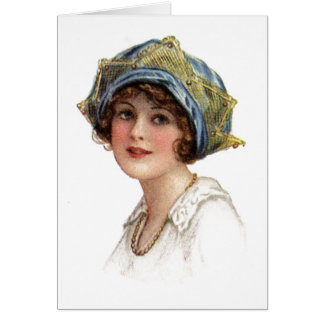 Vintage Lady Coronet With Lace Card Greeting Card