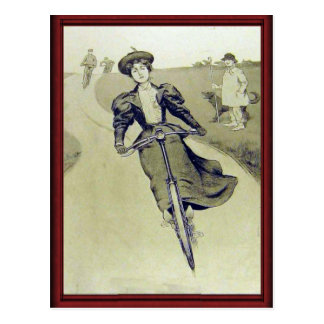 Vintage lady cyclist postcard