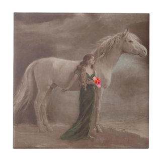 Vintage Lady DayDream & White Night Horse Tile