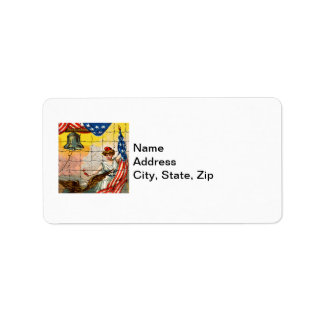 Vintage Lady, Eagle, Flag and Liberty Bell Mosiac Address Label