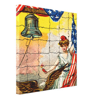 Vintage Lady, Eagle, Flag and Liberty Bell Mosiac Stretched Canvas Prints