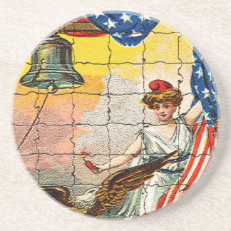 Vintage Lady, Eagle, Flag and Liberty Bell Mosiac Drink Coaster