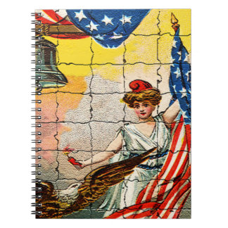 Vintage Lady, Eagle, Flag and Liberty Bell Mosiac Spiral Note Books