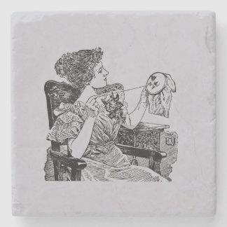 Vintage Lady Embroidery Lavender Gray Stone Beverage Coaster