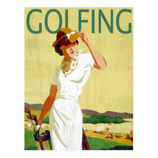 Vintage lady Golfer Golfing Postcard