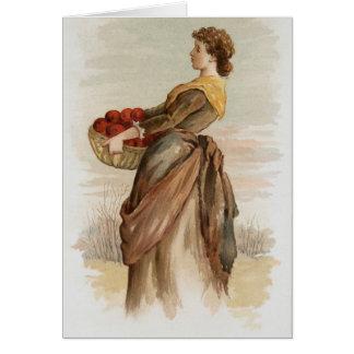 Vintage Lady Harvesting Apples Holiday Card
