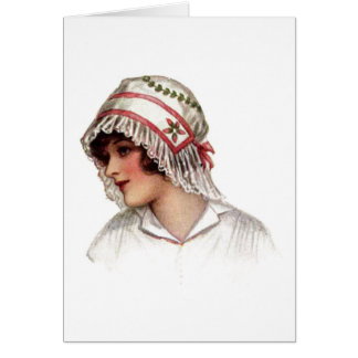 Vintage Lady in Embroidery and Lace Bonnet Cards
