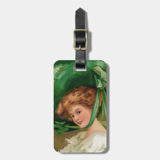 Vintage Lady In Green Luggage Tag