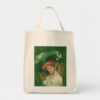 Vintage Lady in Green Organic Grocery Tote Bags
