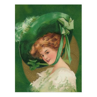 Vintage Lady in Green Post Card
