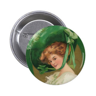 Vintage Lady in Green Round Button